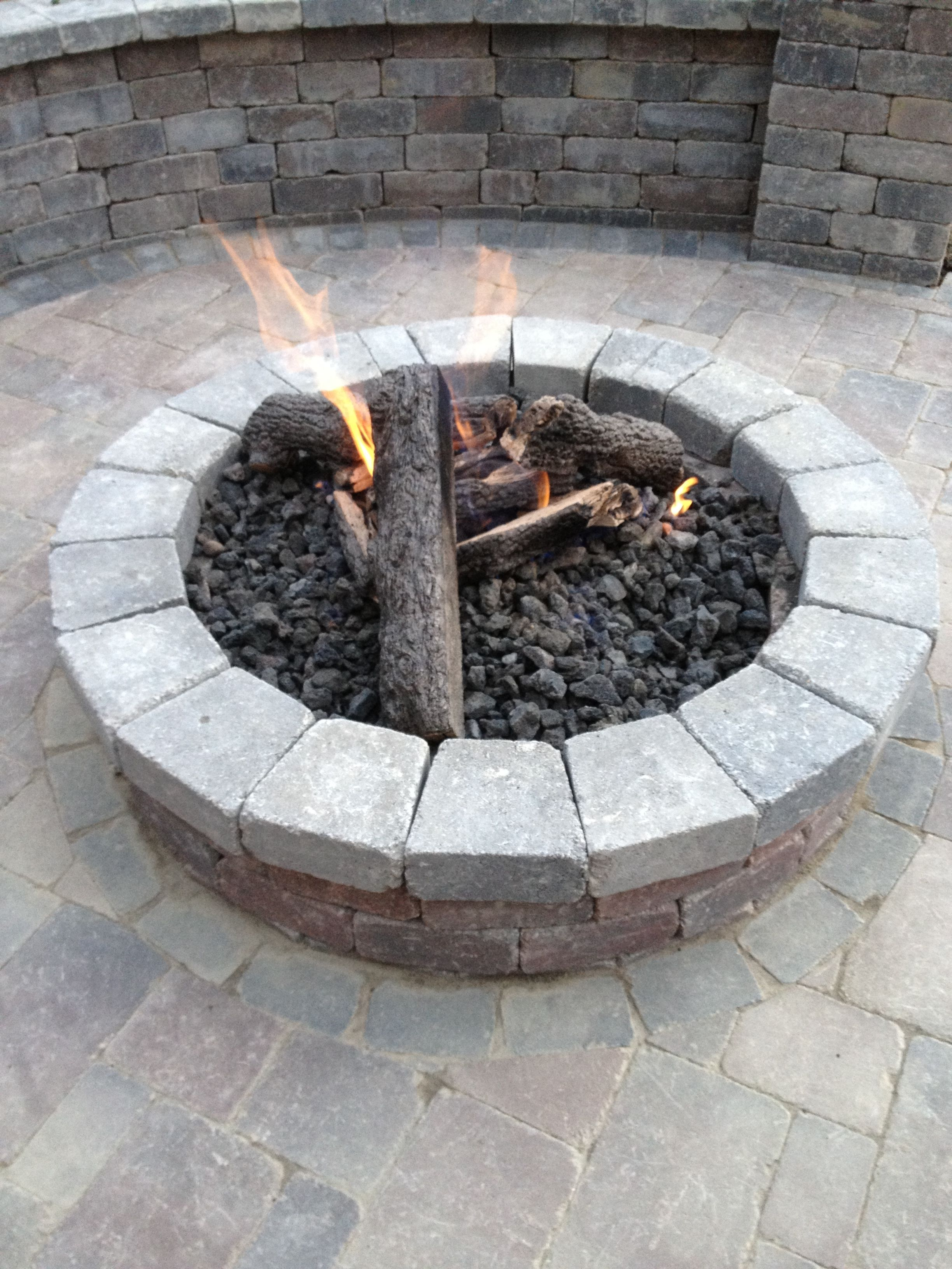 Gas and brick paver firepit | Fire pit, Backyard, Outdoor ...