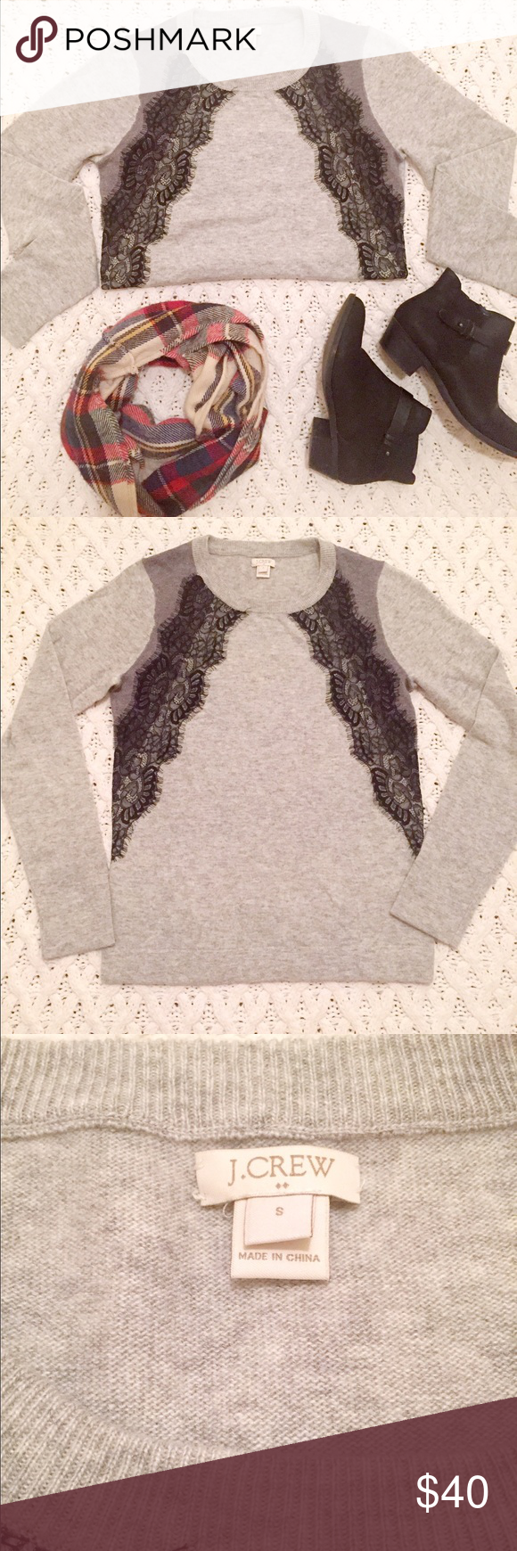 🍁🍂J. Crew Sweater with Lace Overlay Gorgeous LIKE NEW J. Crew sweater with lace overlay. Two tone light and dark grey with black lace overlay. Absolutely no wear! Looks amazing and will be perfect for fall! J. Crew Sweaters Crew & Scoop Necks