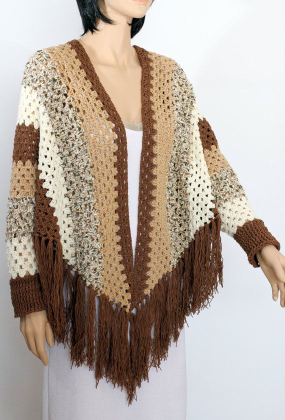 Crochet Poncho Sleeved Poncho Poncho Cape Shawl Poncho Women 39 S Pullover Sweater Fringed Sha Poncho Pattern Crochet Poncho With Sleeves Crochet Poncho