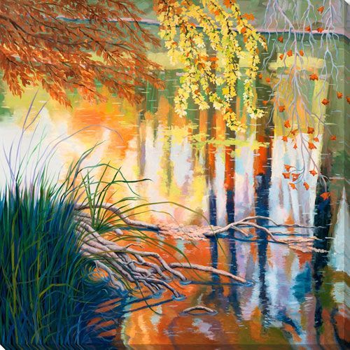 Linden Reflections on the Water 28 In. Wall Art
