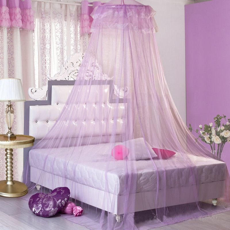 Lace Bed Mosquito Netting Mesh Canopy Princess Round Dome Bedding Net Multi Color Available with hook. Fit for to king size bed. & Resultado de imagen de mosquiteros para camas de princesas ...