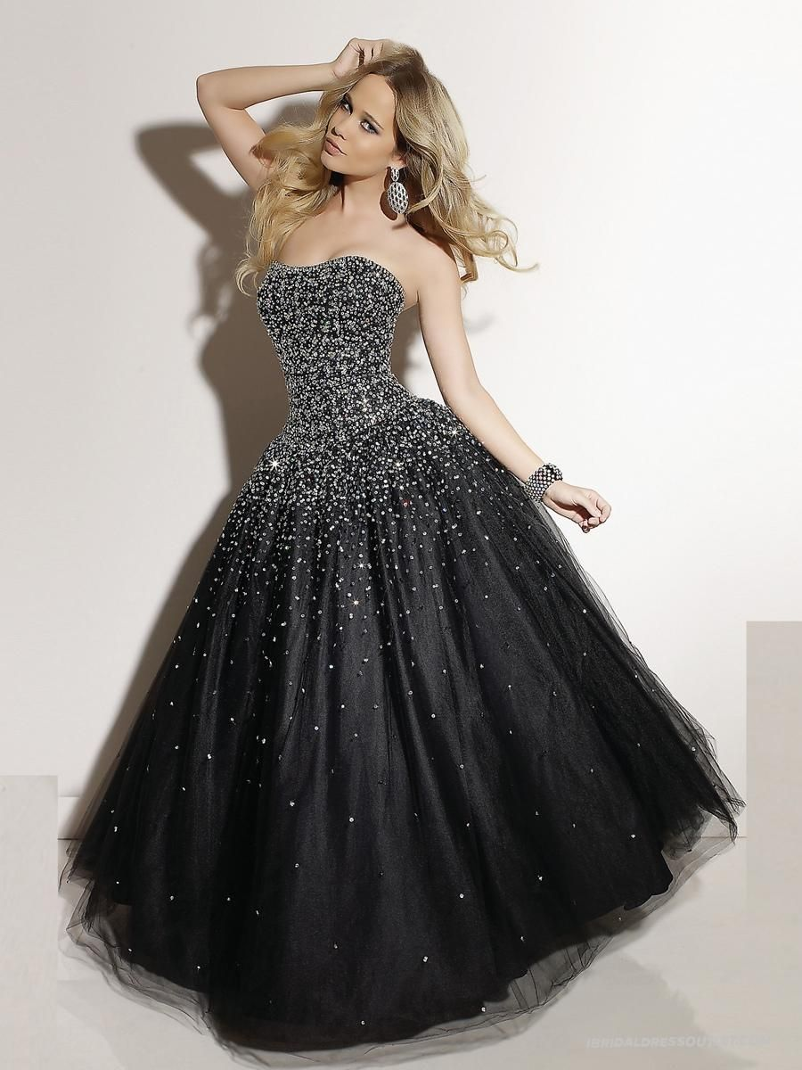 Magnificent Strapless Black Satin and Tulle Scattered Beadwork Ball ...