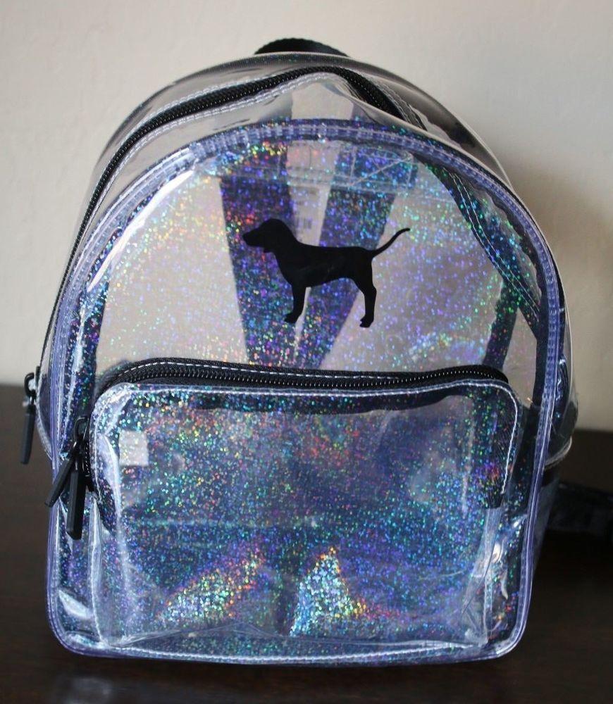 Pink Victoria s Secret Clear Glitter Dog Mini Backpack - NWT   VictoriasSecret  Backpack 852a89ca74