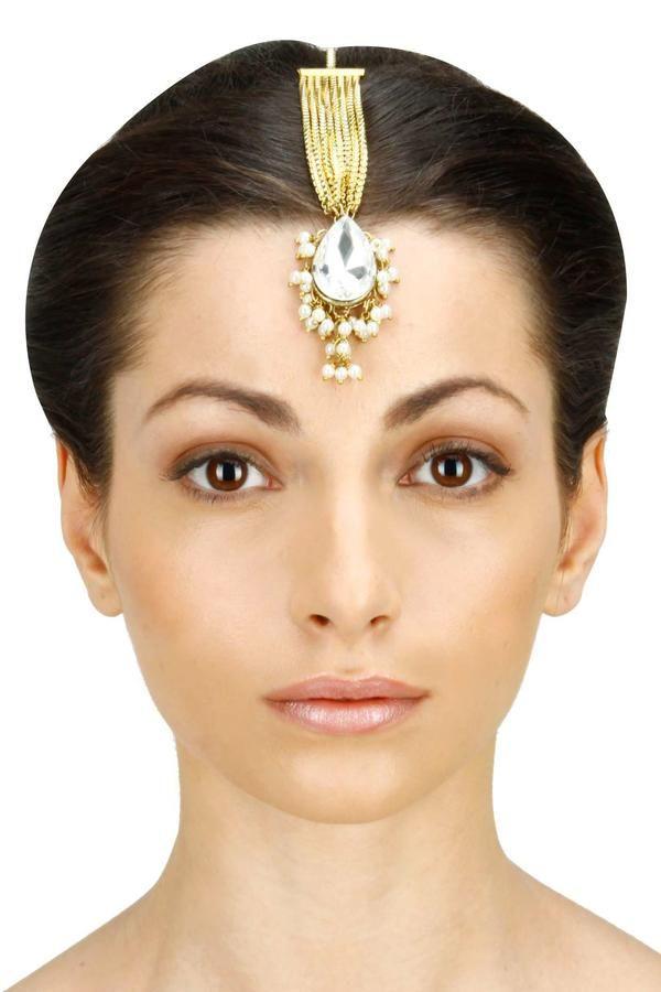Indian Bollywood Gold Pearl Hair Forehead Chain Maang Tikka Bridal Jewelry Yelow