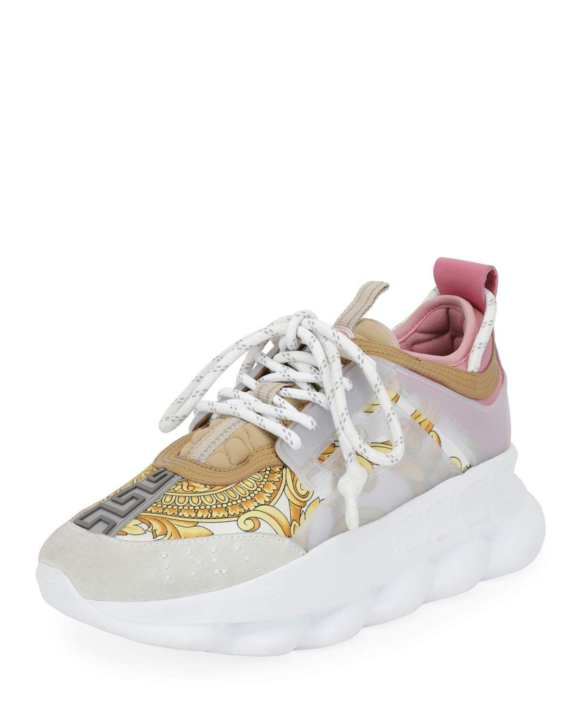 62b0d8f79 Versace Chain Reaction Barocco-Print Chunky-Heel Sneakers | Products ...
