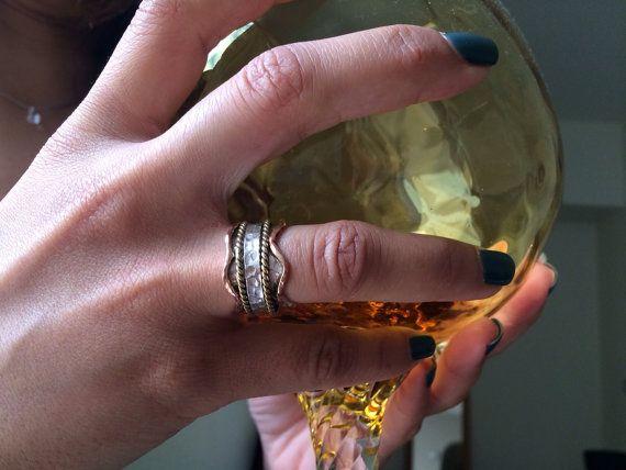 3 colour spinning ring by ChrisRoseBijoux on Etsy