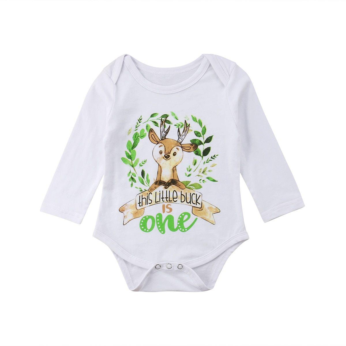 611c7e8c9d 0-24M Lovely Pretty Infant Baby Girls Boys Autumn Bodysuits Long Sleeve  Cartoon Print White