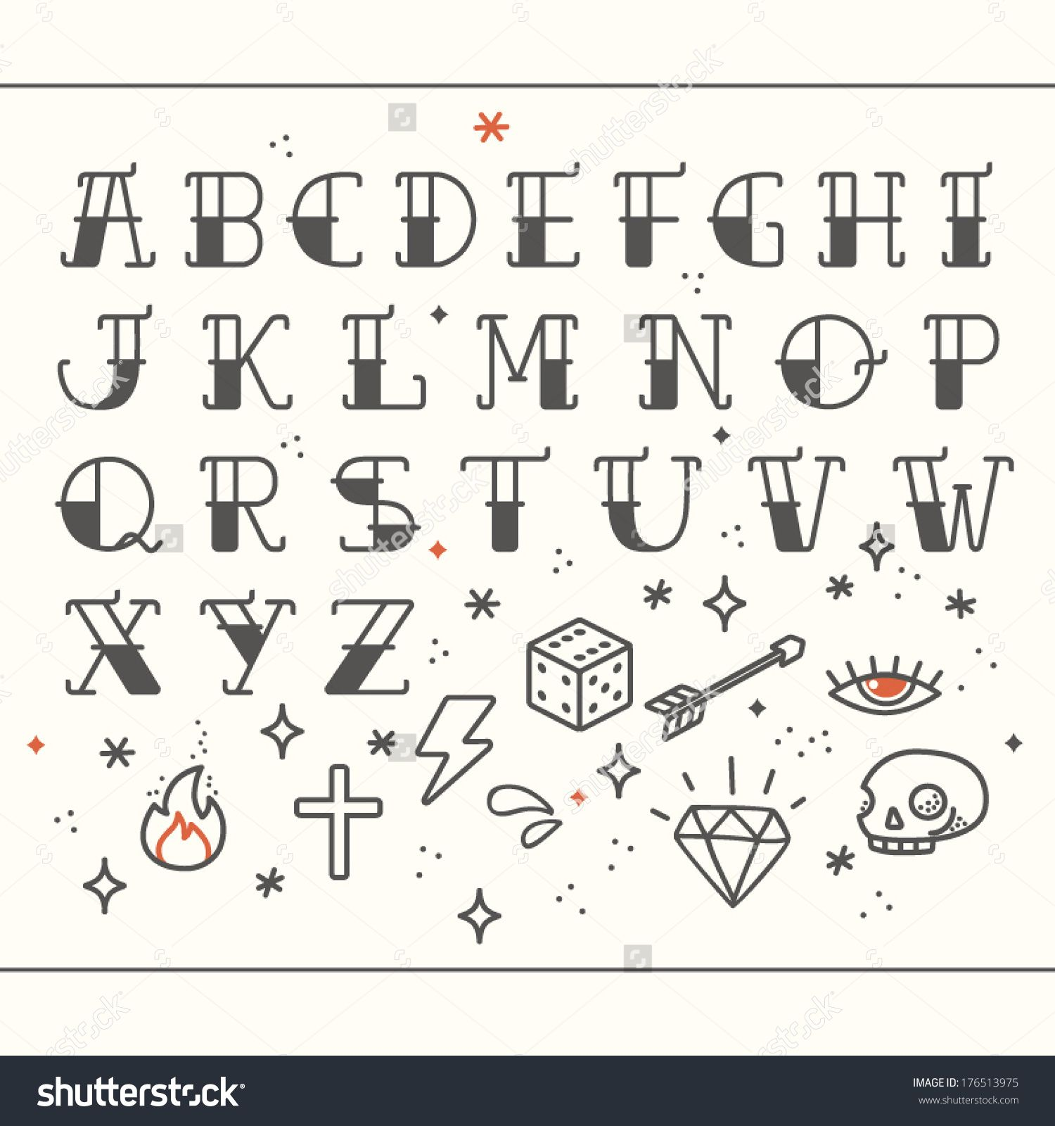 Old School Tattoo Elements Letters Alphabet Standard Font For Advertising Graphic Print Or Web Design