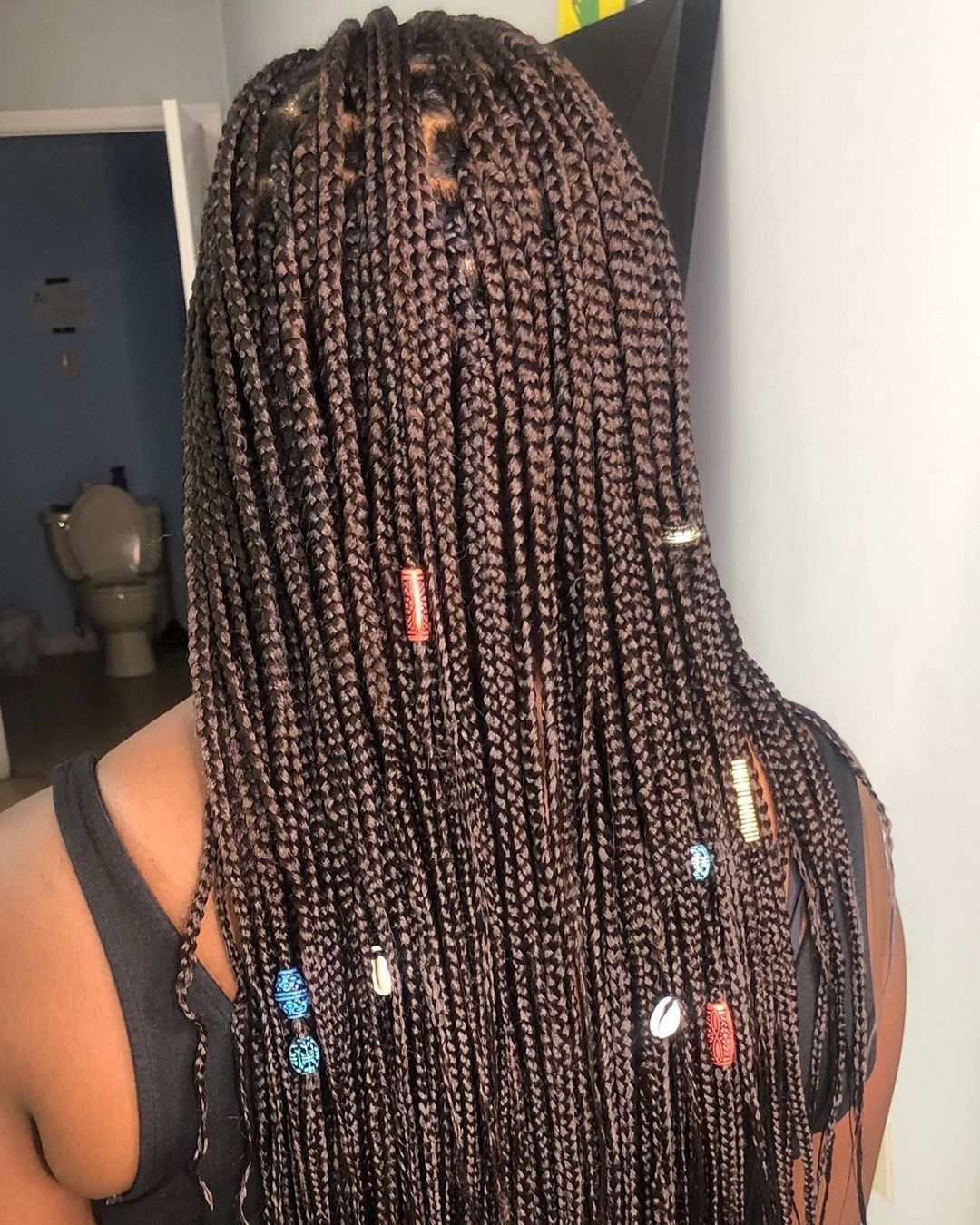 Goddess Tribal braids (half cornrows/half braids)  . . . #feedinbraids #cornrows #cornrowstyles #feedinbraidsatlanta #feedinbraidslondon #goddessbraids #goddessboxbraids #goddessfeedinbraids #braids #neatbraids #braidsatlanta #tribal Braids half up half down