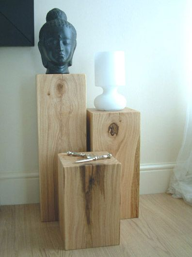 Set Of 3 Light Oak Block Side Tables Oak Lamp Wood Blocks Side Table