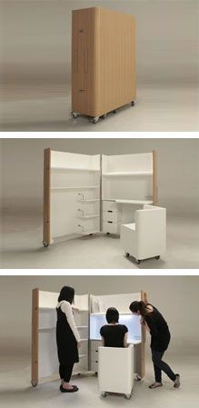 japanese office furniture. Japanese Designers Atelier OPA Created This Foldaway Set Of Furniture Which Includes A Mobile Home Office