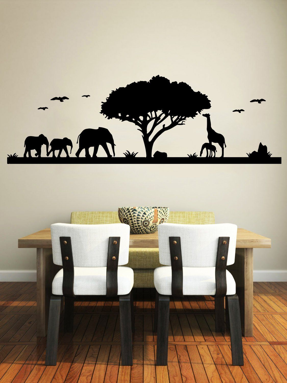 Safari Wall Decal Animals Jungle Safari African Tree Animals Jungle Giraffe  Elephant Vinyl Decals Sticker Home Interior Design Art Mural Kids Nursery  Baby ...