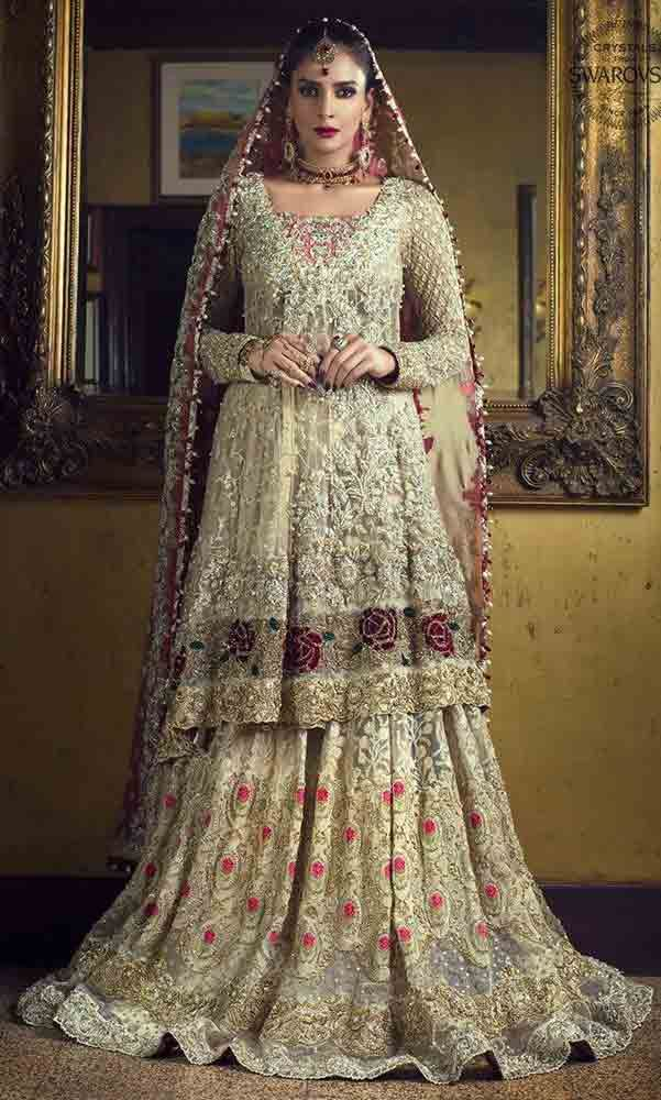 f35c1ec4dd Latest design of peplum with lehenga style Pakistani bridal dress in red  and golden color combinations 2018
