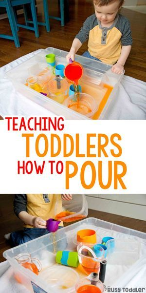Pouring Skills: Make an Indoor Pouring Station   Toddler ...