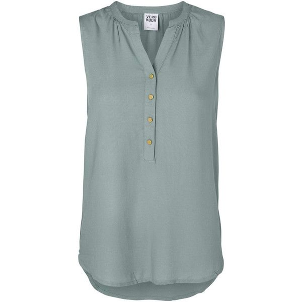 Vero Moda Loose Fit Sleeveless Shirt (17 CAD) ❤ liked on Polyvore featuring tops, chinois green, sleeveless shirts, loose fitting shirts, v-neck tops, no sleeve shirt and v-neck shirt