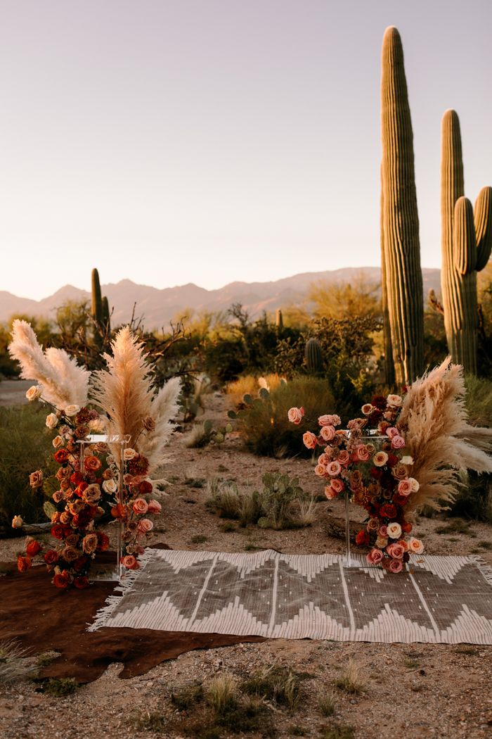 Photo of This Saguaro National Park East Wedding Inspo Features All the Colors of the Desert Sunset   Junebug Weddings