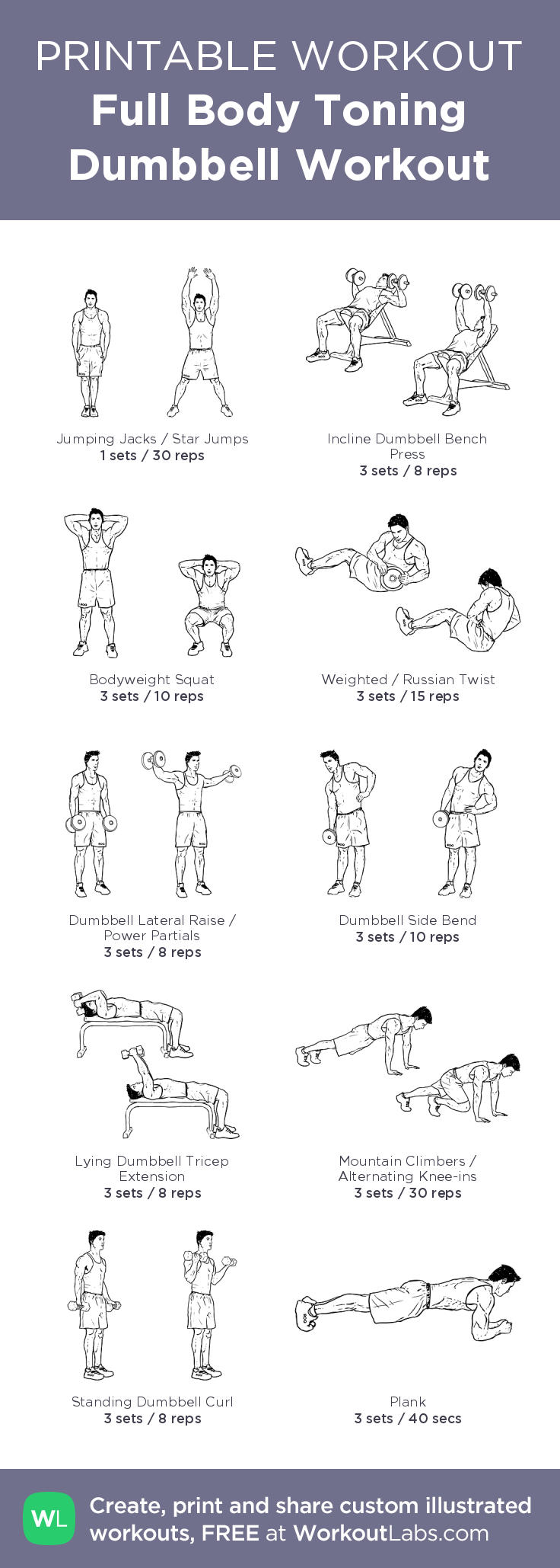 Full Body Toning Dumbbell Workout My Custom Exercise Plan Created