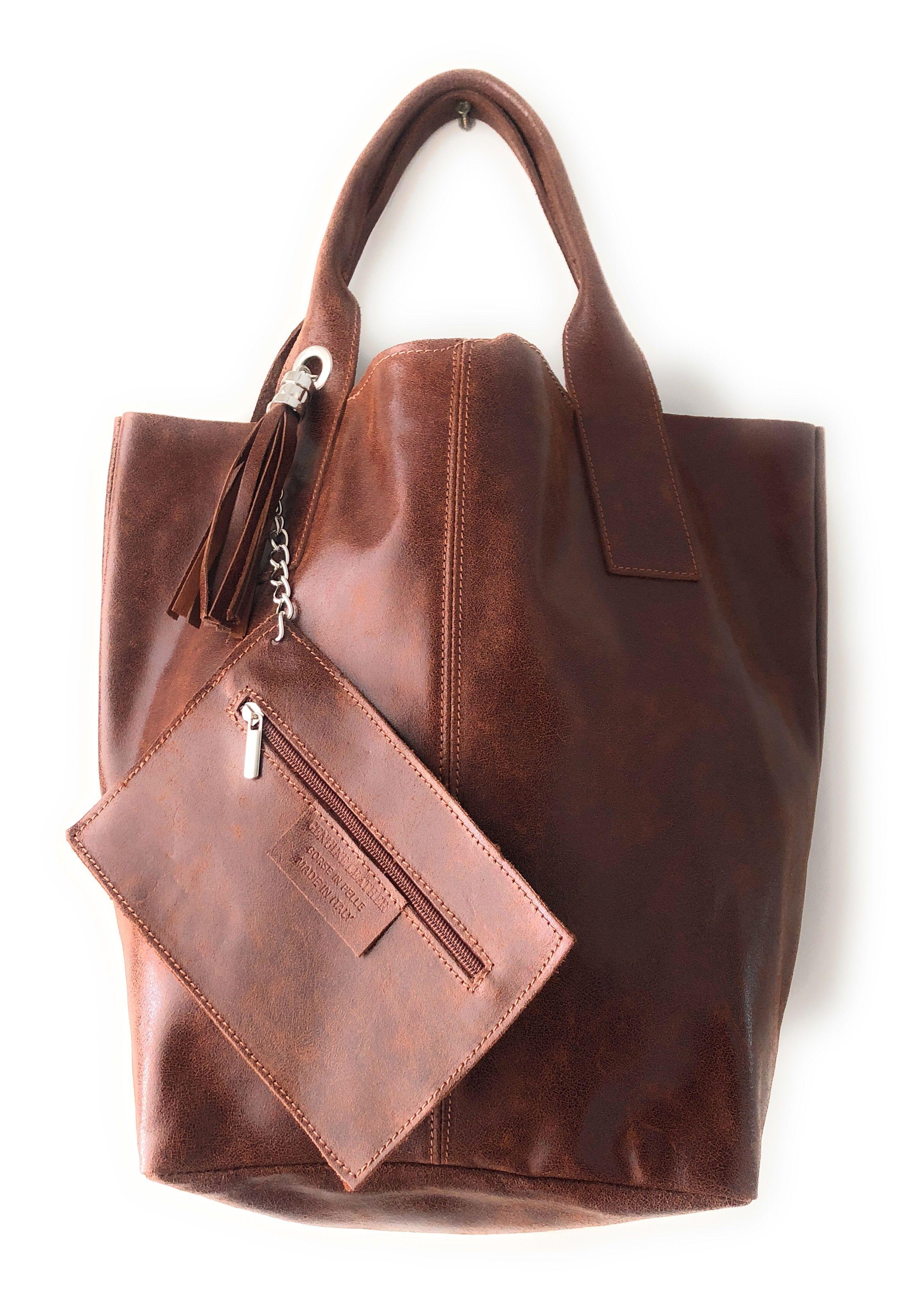 Shopper de piel en color marrón oscuro de la marca italiana