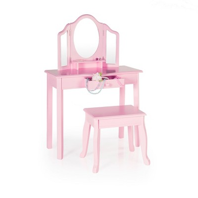 Classic Vanity And Stool Pink Guidecraft Green Vanity Set