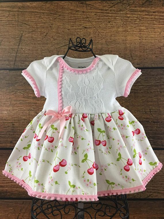 bc7fb3030438 Vintage cherries baby girl dresses