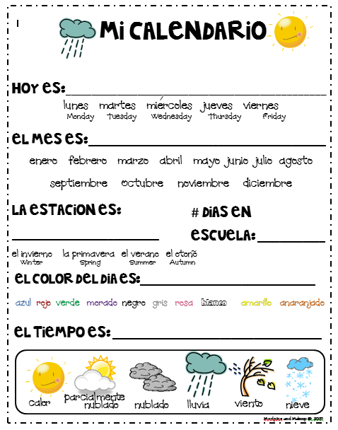 Spanish 2520calendar 2520journal 255b5 255d Png Preschool Spanish Spanish Worksheets Spanish Basics