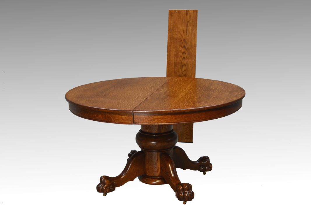 16808 Antique Victorian Large Bulbous Base Oak Round Dining Table with Claw  Feet - Maine Antique - SOLD Antique Victorian Large Bulbous Base Oak Round Dining Table