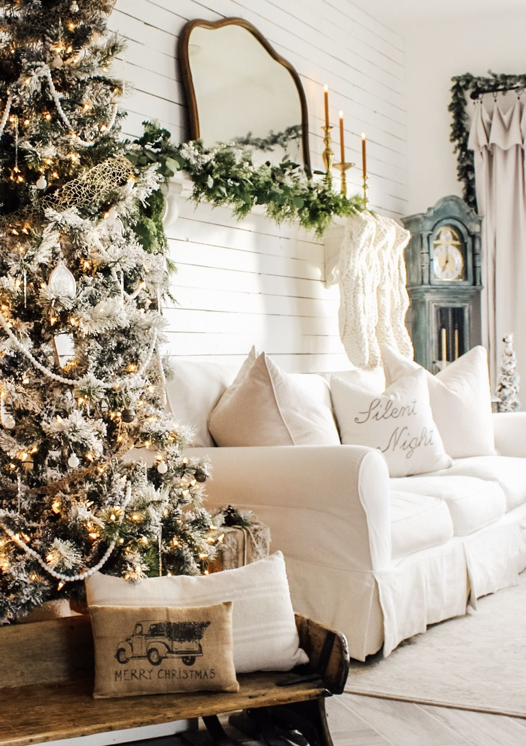 Our DIY cottage is looking more and more festive all the time!  #fletchercreekcottage #cottagechristmas #christmasdecor #cozylivingroom #christmasmantle