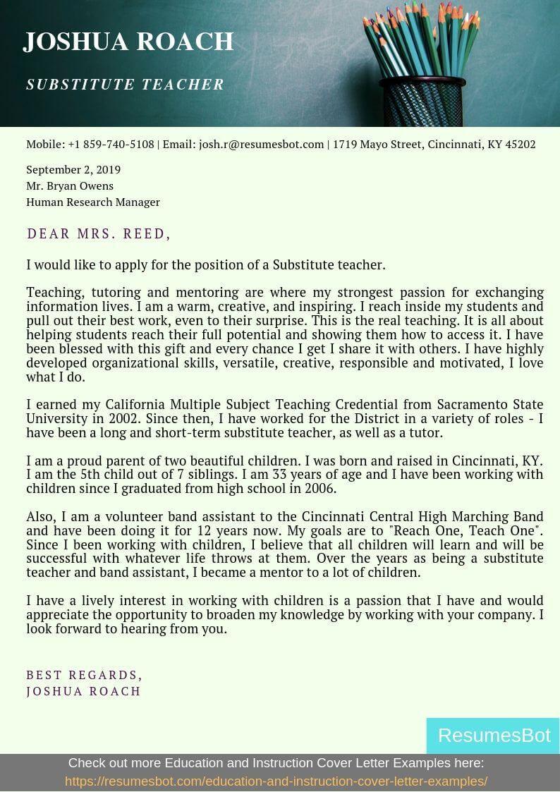 Substitute Teacher Cover Letter Samples Templates Pdf Word 2021 Substitute Teacher Cover Letters Rb Teacher Cover Letter Example Substitute Teacher Substitute Teaching