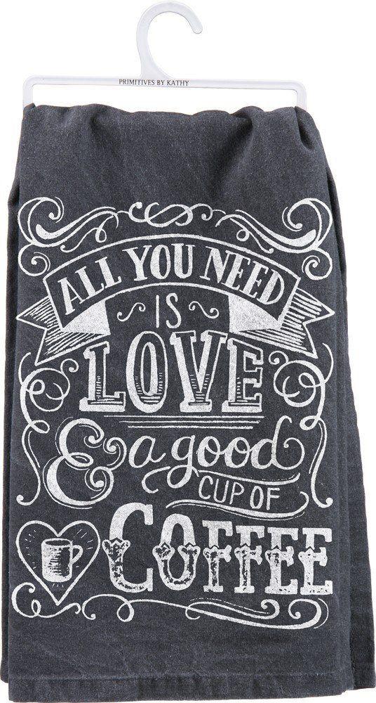 Tea Towel Love And Coffee Coffee Towel Dish Towels Coffee Cups