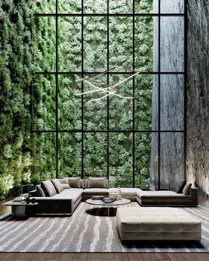 Spatious lounge area. Greenery. All grey furniture. Minimal interior. Interior design. Modern design ideas. - #Area #Design #Furniture #Greenery #Grey #ideas #interior #lounge #Minimal #modern #Spatious #vaultedceilingdecor