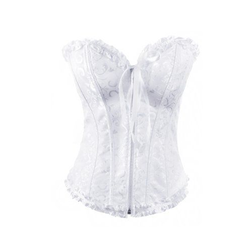 904f667adcb Muka Women s White Zip Up Bridal Fashion Corset Bustier