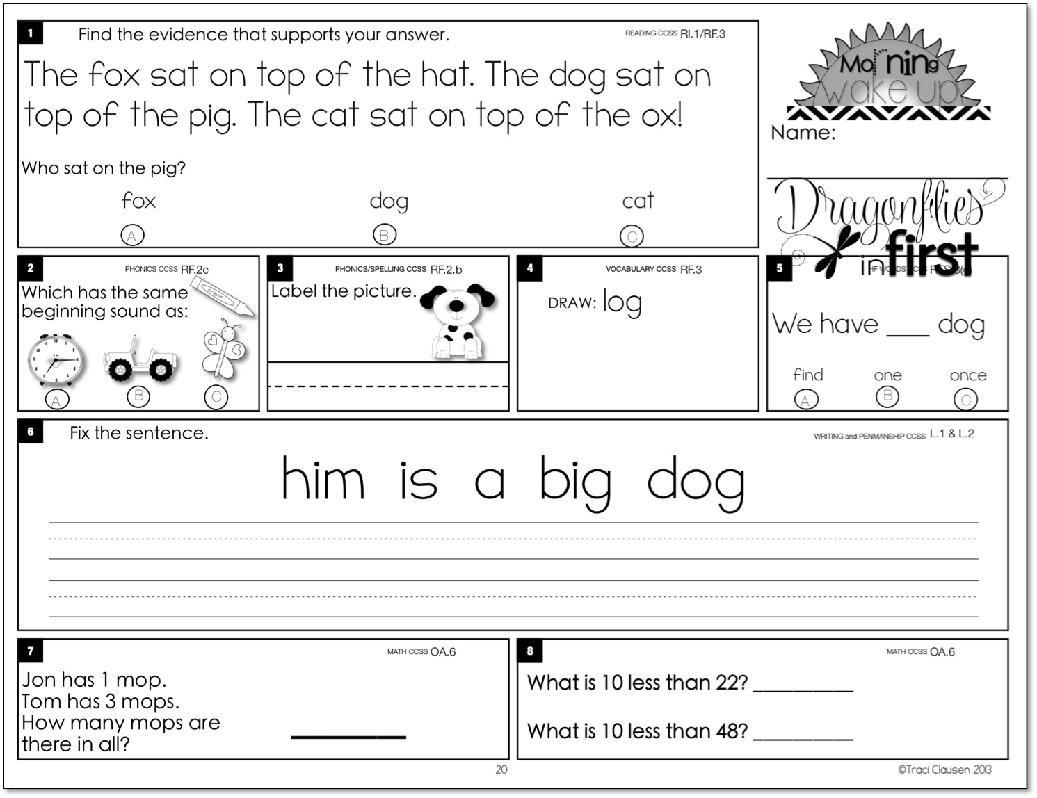 Meaningful And Engaging Morning Work For K 2 Morning Wake Up 1st Grade Worksheets First Grade Words First Year Teaching [ 1148 x 1491 Pixel ]