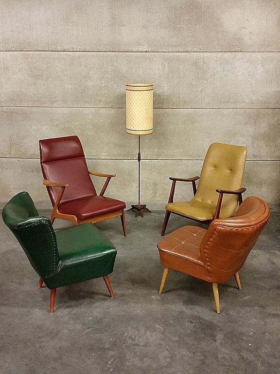 original fifties clubchairs lounge chairs vintage mid century design