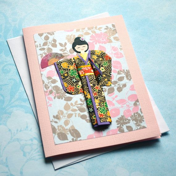 Handmade origami kimono doll greeting card 5x7 in (C584 ...