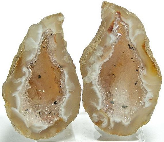 Druzy Drusy Agate Geode Crystal Cave Pair Occo by FenderMinerals,