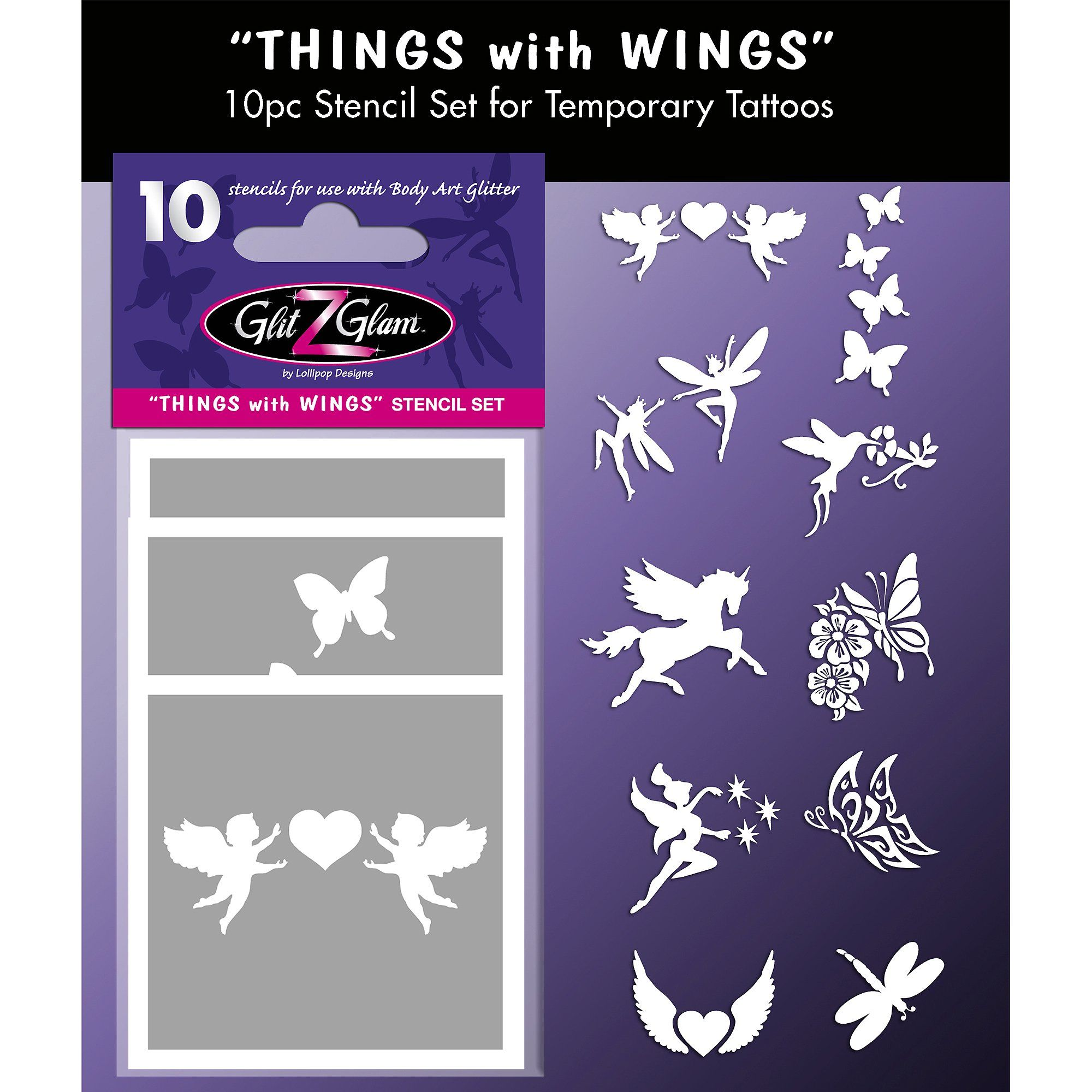 Glitzglam things with wings tattoo stencil set for glitter