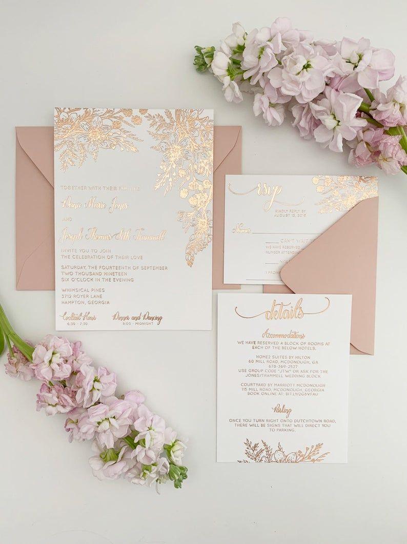 Rose Gold Wedding Invitation Suite In 2020 Rose Gold Wedding Invitations Rose Gold Invitations Unique Wedding Invitations