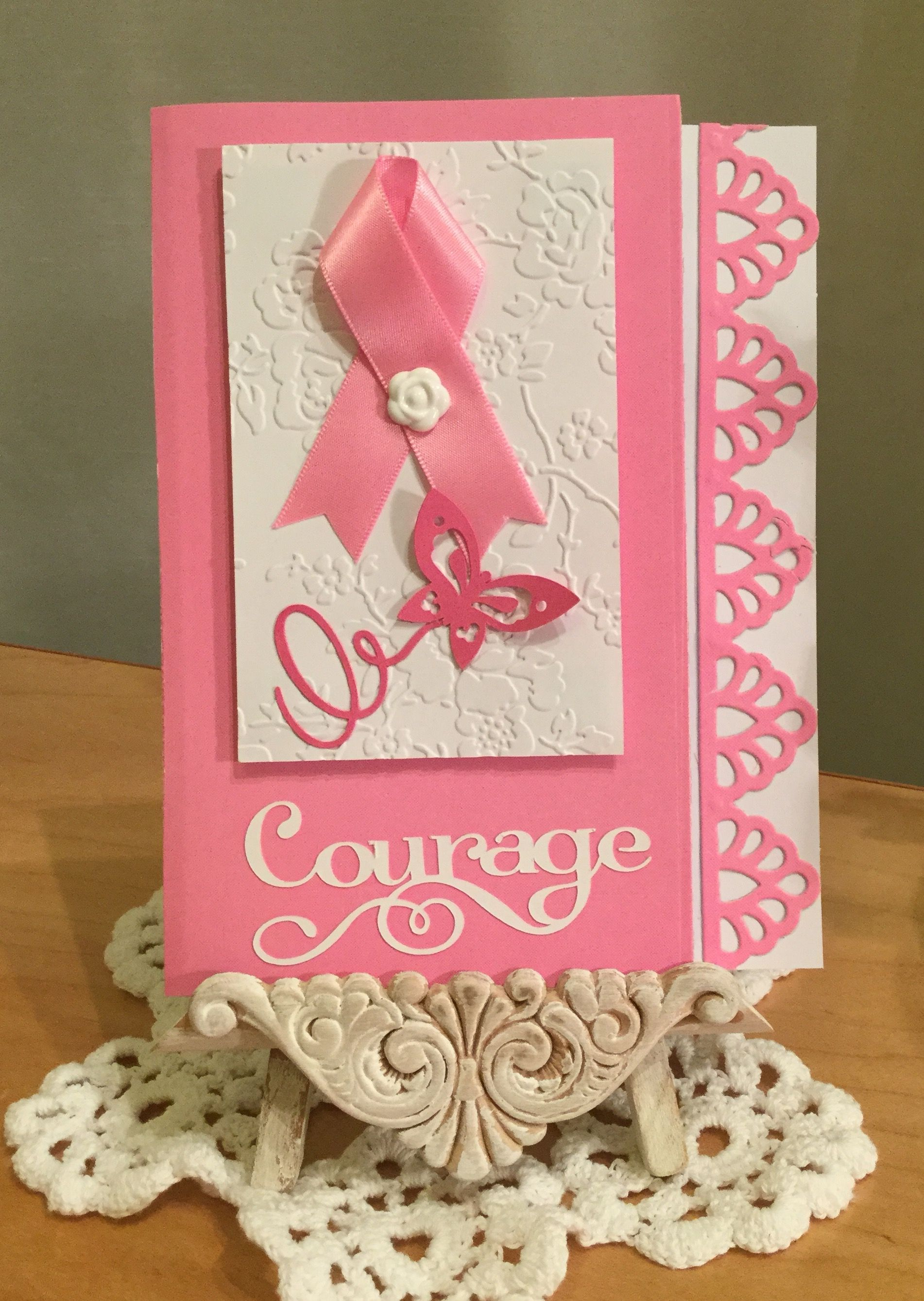 Breast Cancer Card / Made with Spellbinders Moroccan Accents Die Cut ...