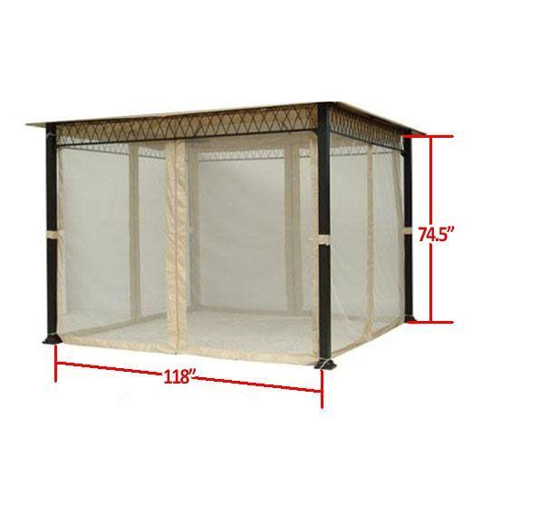 Universal 10 X 10 Mosquito Netting Set Gazebo Accessories