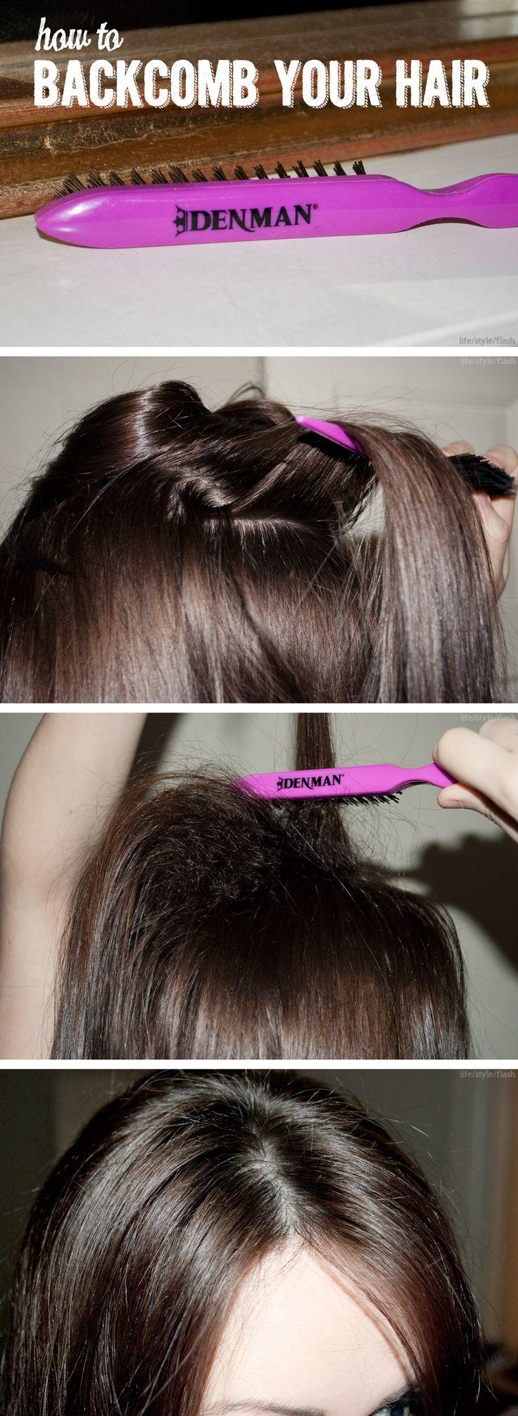 How To Back Comb Hair Comb Hair How To Backcomb Hair Hair Styles Teased Hair Tutorials