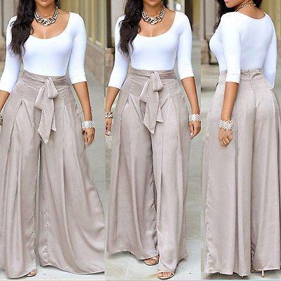 c197dbab05 Nuevo Mujeres Moda Cintura Alta Acampanados Pierna Ancha Pantalones Largos  Pantalones Palazzo Vintage
