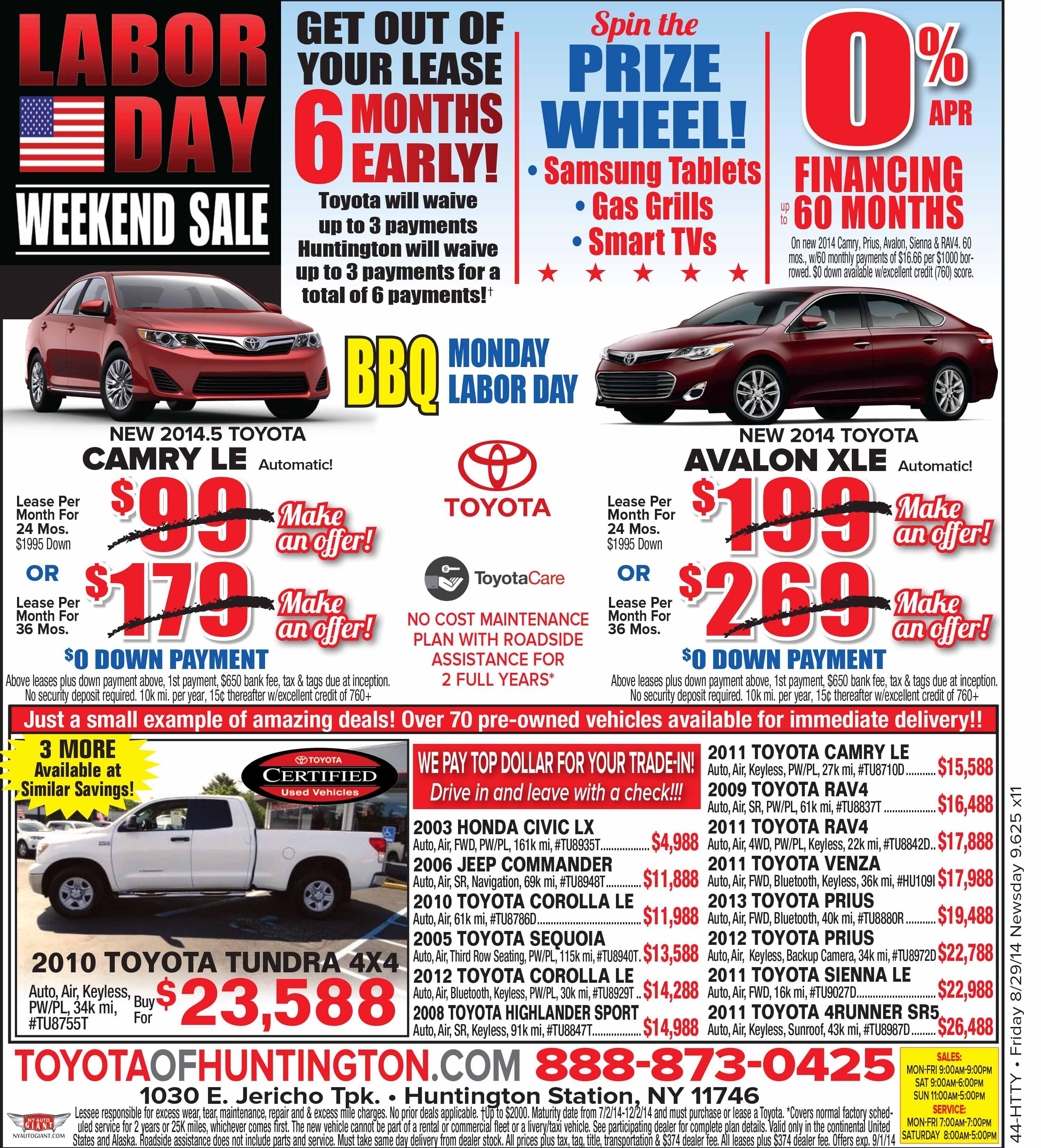 Labor Day Sales Toyota Huntington Car Dealership