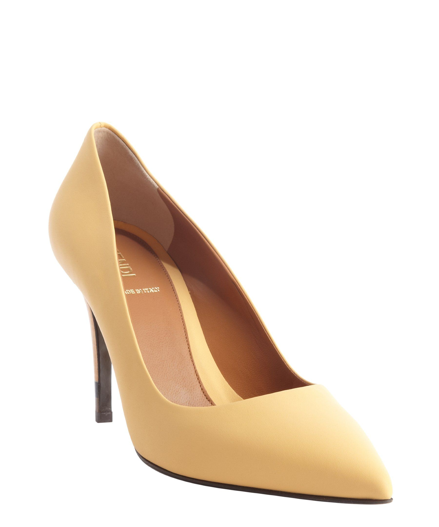 Fendi yellow matte leather pointed toe pumps | BLUEFLY up to 70% off designer brands