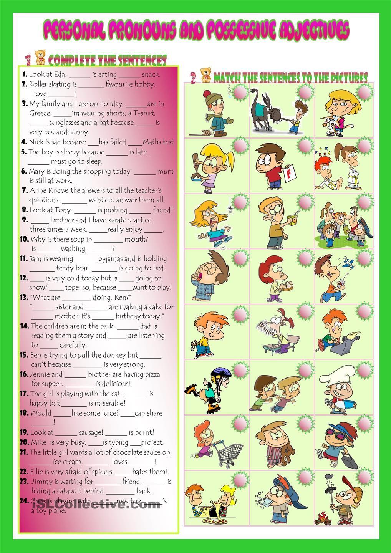 Personal Pronouns Possessive Adjectives English Worksheets