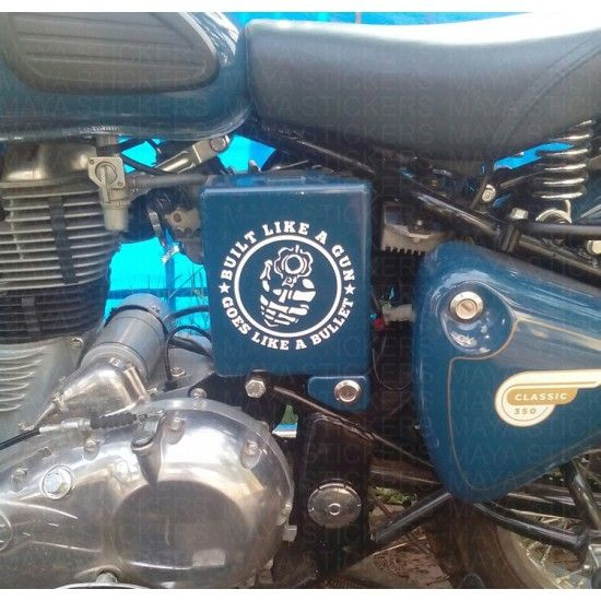 Built Like A Gun Sticker On Royal Enfield Classic Squadron - Classic motorcycle custom stickers