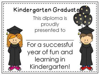 Kindergarten or Preschool Graduation Diploma~ Editable {Freebie ...
