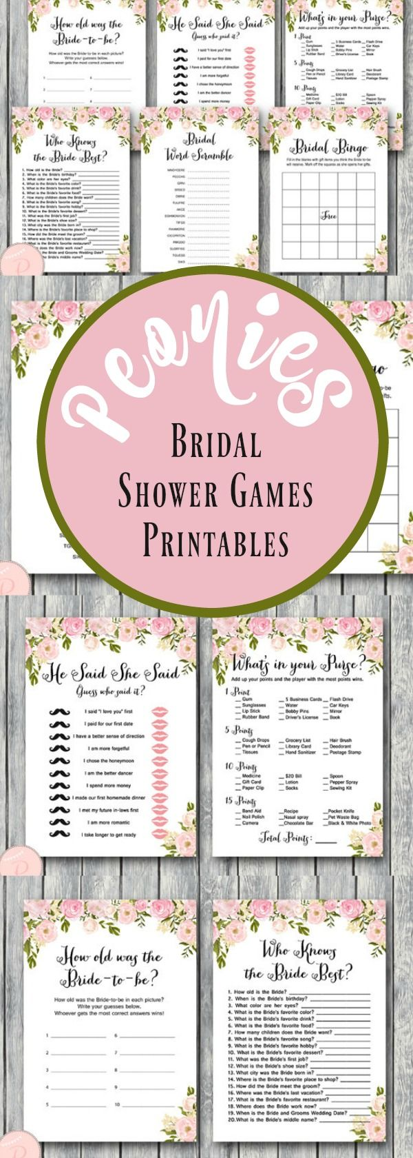 Peonies Bridal Shower Games Package, Instant Download, 6 Games ...