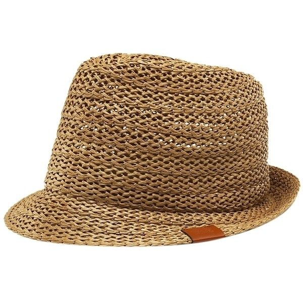 Pre-owned Gucci Brown Straw Fedora Hat Size Xl (extra Large) ( 200) ❤ liked  on Polyvore featuring accessories 9084651614c6