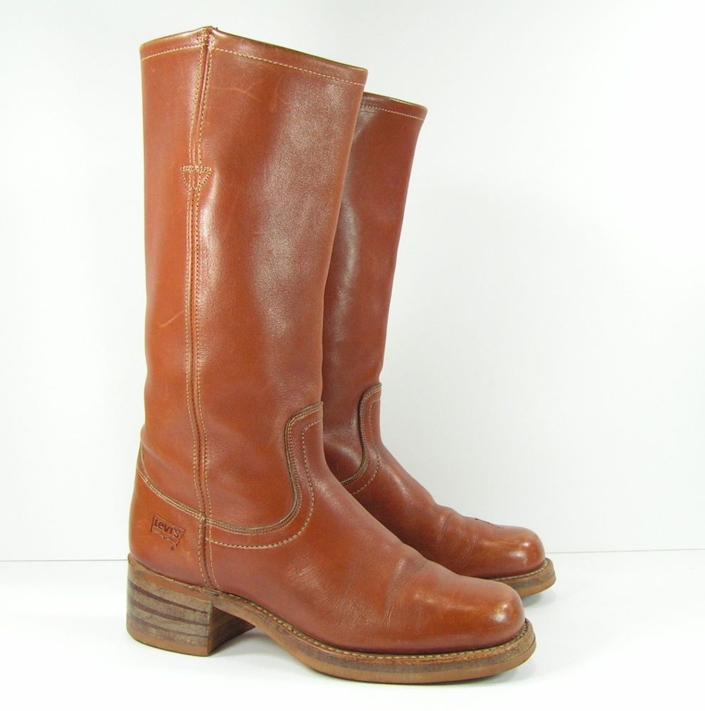53eeee1fc5e vintage levis campus boots womens 6.5 B M brown campus leather ...