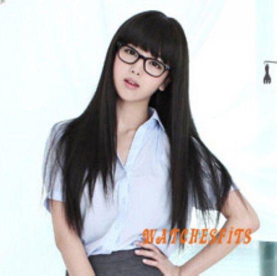 Asian Style Black Long Straight Flat Bangs Hair Wigs Student Girls